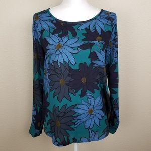 Loft Blue Green Floral Pullover Top Size XS